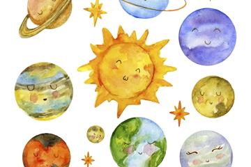 水彩绘可爱表情太阳系行星矢量图