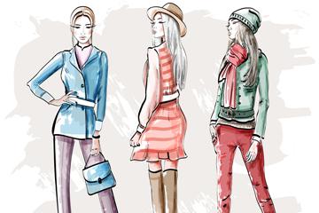 3款彩绘时尚女子矢量素材