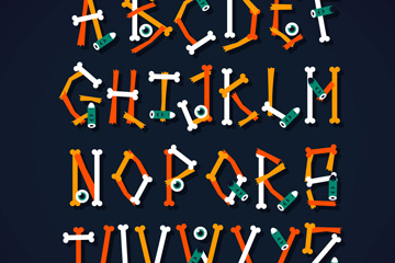 26��彩色骨�^字母矢量素材
