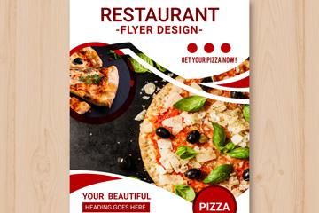 美味披萨餐馆宣传单矢量素材