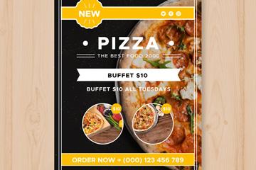 美味披萨快餐店传单矢量素材