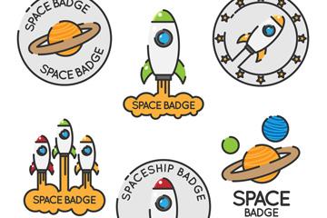 6款创意太空元素徽章矢量素材