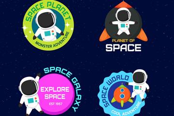 4款创意宇航员标签设计矢量图