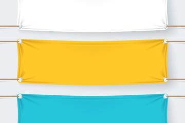 3款彩色布料条幅矢量素材