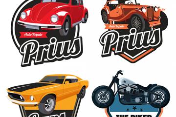4款复古轿车和摩托车标签矢量图