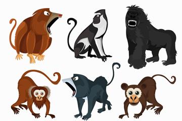 6款创意猴子设计矢量图