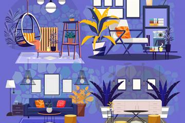 4款时尚客厅设计矢量素材