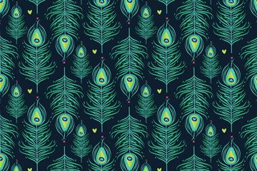 创意孔雀羽毛无缝背景矢量图