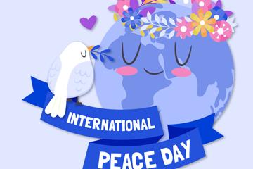 可爱国际和平日地球和鸟矢量图
