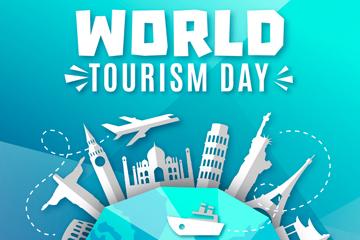 白色世界旅游日地球景点剪贴画矢