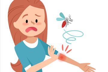 创意被蚊子叮咬的女子矢量图