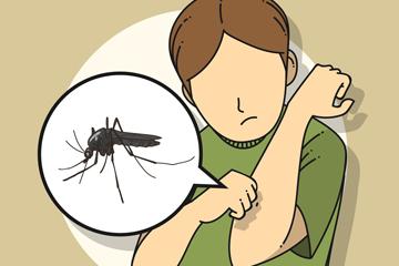 创意被蚊子咬的男子矢量图
