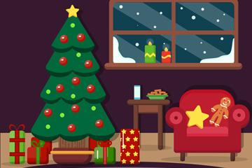 创意圣诞节客厅设计矢量图