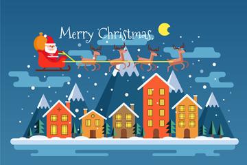 创意圣诞老人和驯鹿雪橇矢量素材