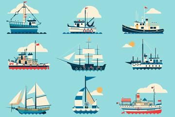 11款��意海上船只和�羲�矢量素材