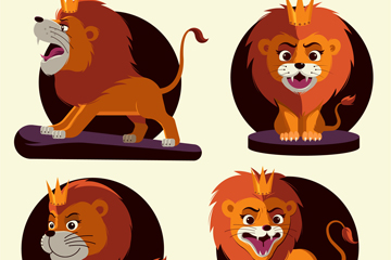 4款卡通狮子设计矢量素材