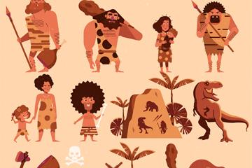 8款��意原始部落人物矢量素材