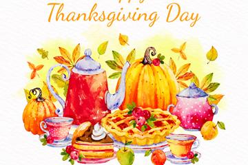 彩绘感恩节餐桌食物矢量素材