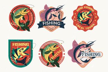 9款创意钓鱼元素标签矢量素材