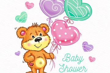 彩绘迎婴派对气球小熊矢量素材