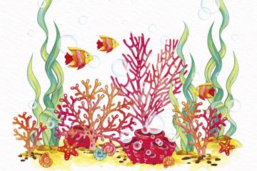彩色海底世界珊瑚鱼群矢量图