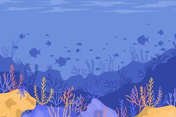 蓝色海底世界风景矢量素材