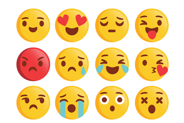 16款黄色圆脸表情设计矢量素材