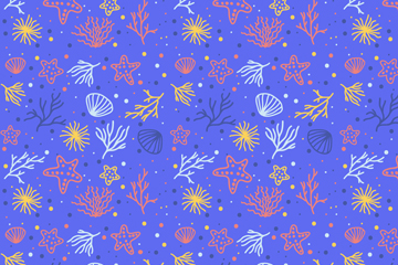 彩色珊瑚海星无缝背景矢量素材