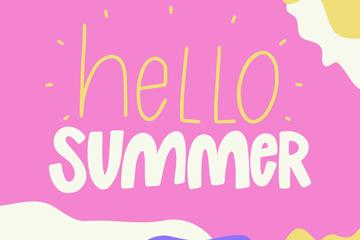 ��意你好夏季��g字�O�矢量素材