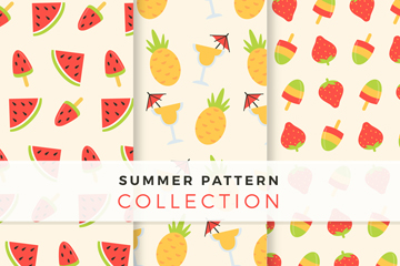 3款彩色夏季水果无缝背景矢量图
