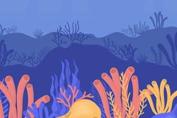 卡通海底珊瑚�L景矢量素材