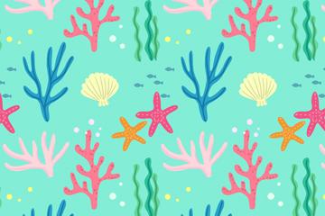 创意珊瑚海星无缝背景矢量图
