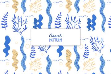 抽象珊瑚海草无缝背景矢量图