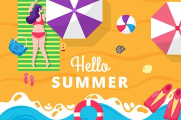 彩色夏季度假沙滩人物俯视图矢量素材