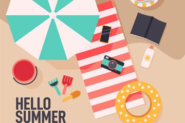 创意夏季度假沙滩物品俯视图矢量素材