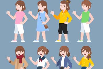 8款卡通女孩设计矢量素材