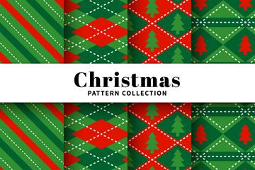 4款绿色圣诞节图案无缝背景矢量图