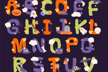 26个彩色万圣节字母矢量素材
