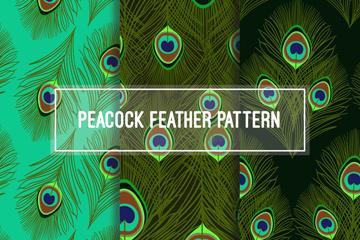3款创意孔雀羽毛无缝背景矢量图