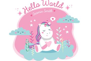 粉色独角兽迎婴派对海报矢量图