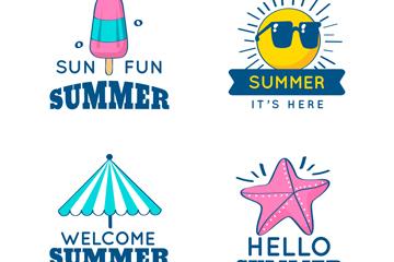 4款彩色你好夏季标签矢量图