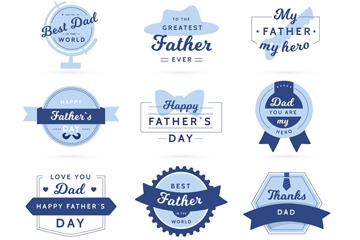 9款蓝色父亲节标签矢量素材