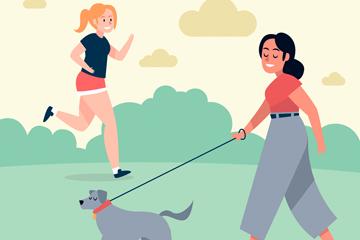 ��意跑步和遛狗女子矢量素材