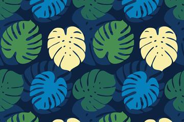 彩色龟背竹叶无缝背景矢量图