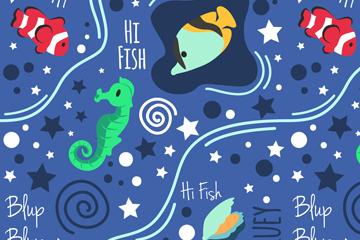 卡通海洋生物无缝背景矢量图