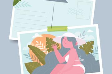 手绘海边度假女子明信片矢量素材