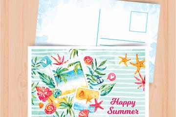 彩绘快乐夏季明信片设计矢量图