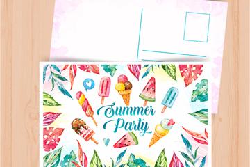 彩绘冰淇淋夏季明信片矢量素材