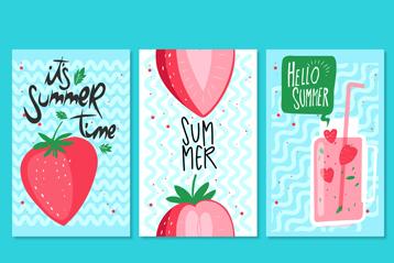 3款彩绘夏季草莓卡片矢量素材