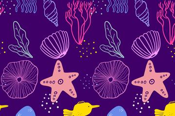 彩绘海星贝壳无缝背景矢量素材
